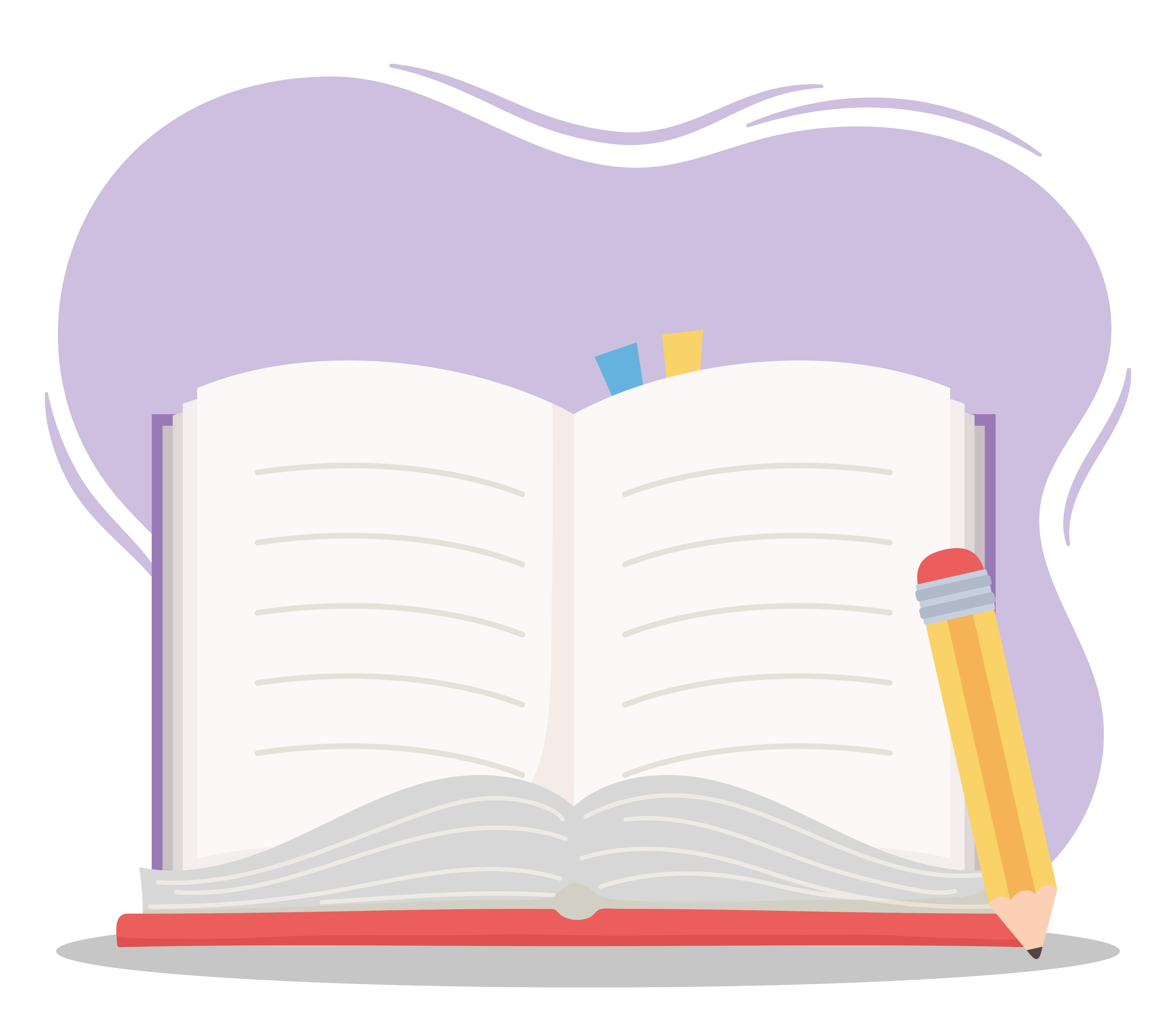 online education open book and pencil school 1830046 vector art at vecteezy