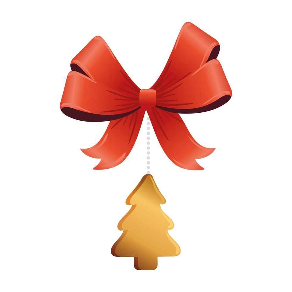 pino dorado de navidad con lazo colgante vector