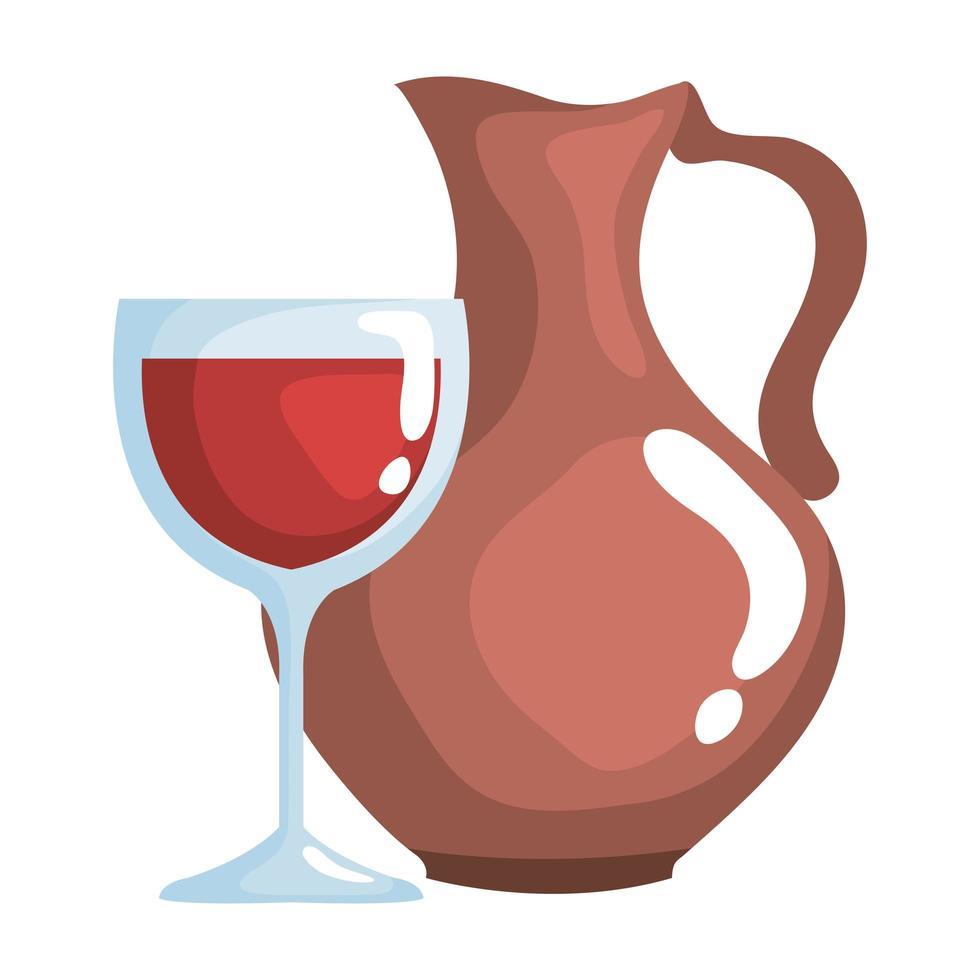 crystal wine cup drink and ceramic jar vector