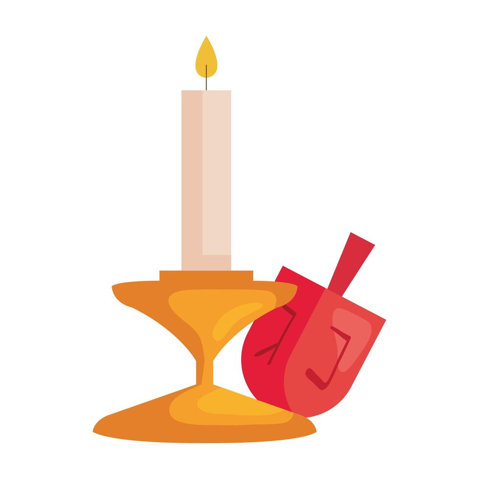 jewish dreidel toy luck with candle vector