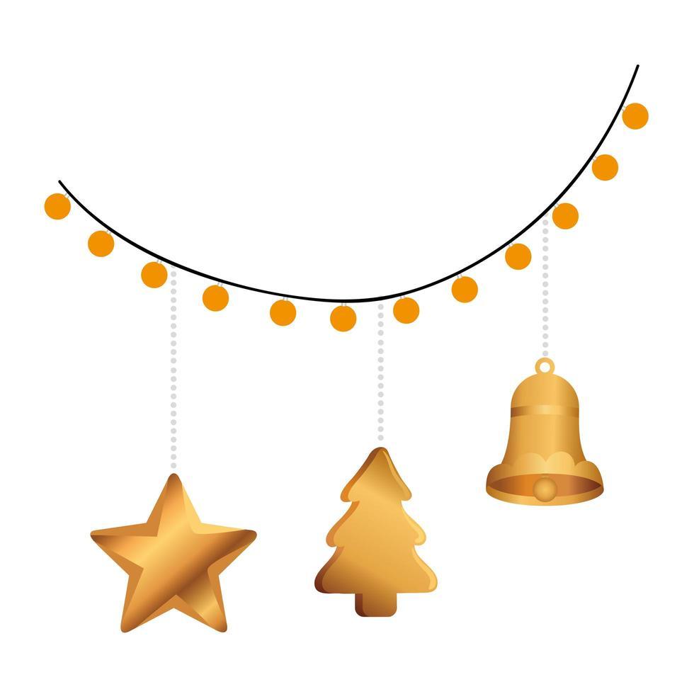 christmas golden decoration hanging in lights vector