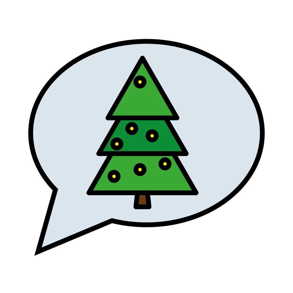 Feliz árbol de pino de Navidad feliz en la línea de burbujas de discurso y el icono de estilo de relleno vector