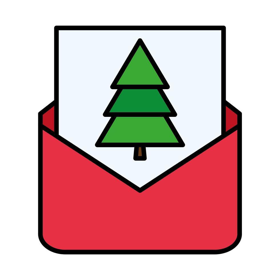 feliz feliz navidad pino en la línea del sobre y el icono de estilo de relleno vector