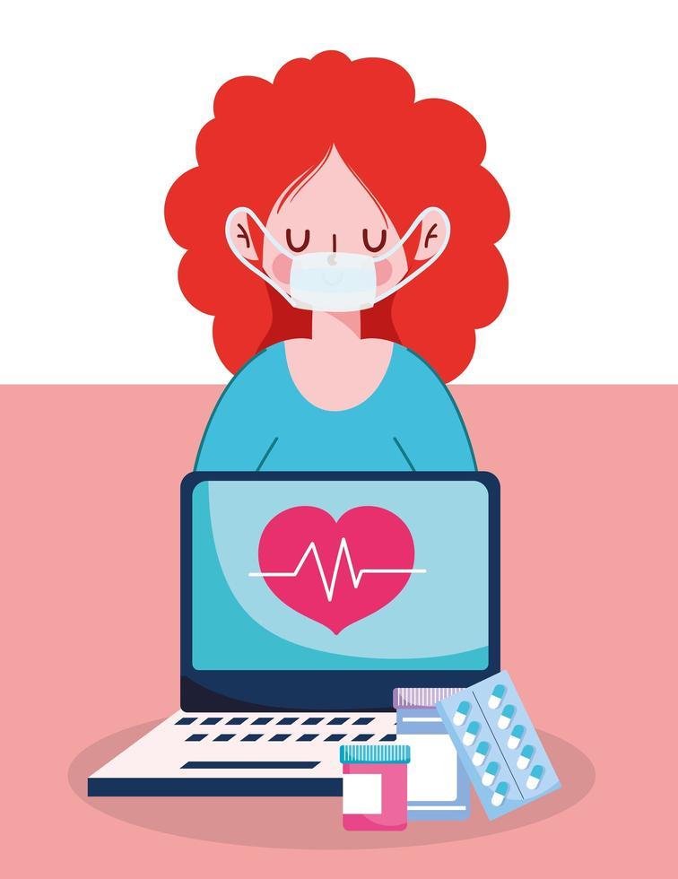 Mujer con máscara portátil pastillas y frascos de medicina diseño vectorial vector