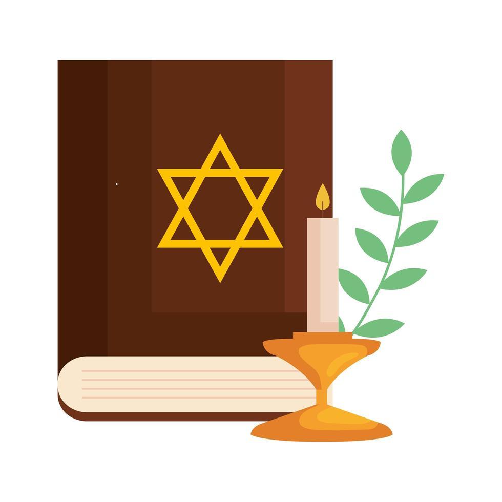 libro antiguo del judaísmo sagrado con estrella dorada judía y vela vector
