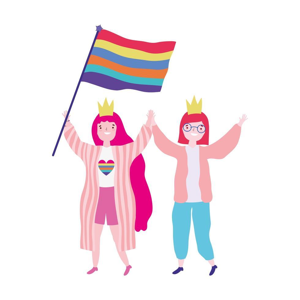 desfile del orgullo de la comunidad lgbt, celebrando a dos mujeres con corona y bandera arcoiris vector