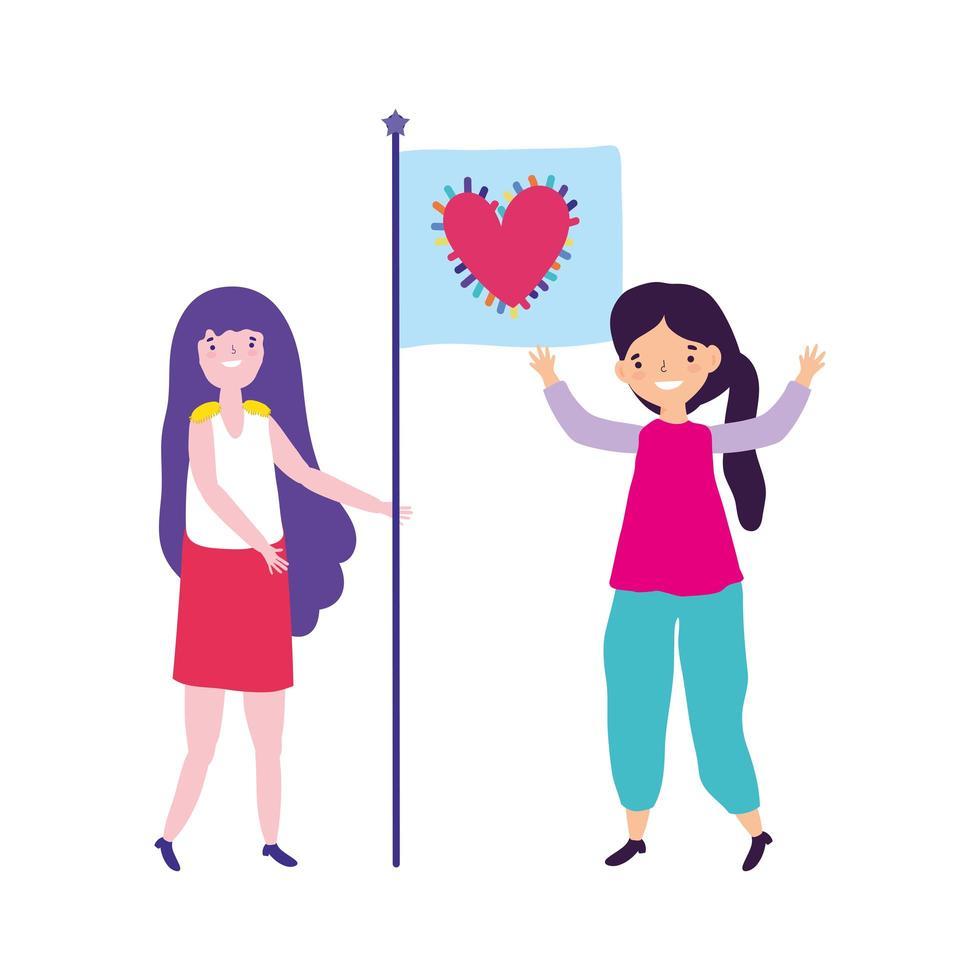 desfile del orgullo comunidad lgbt, mujeres con corazón de bandera juntas vector