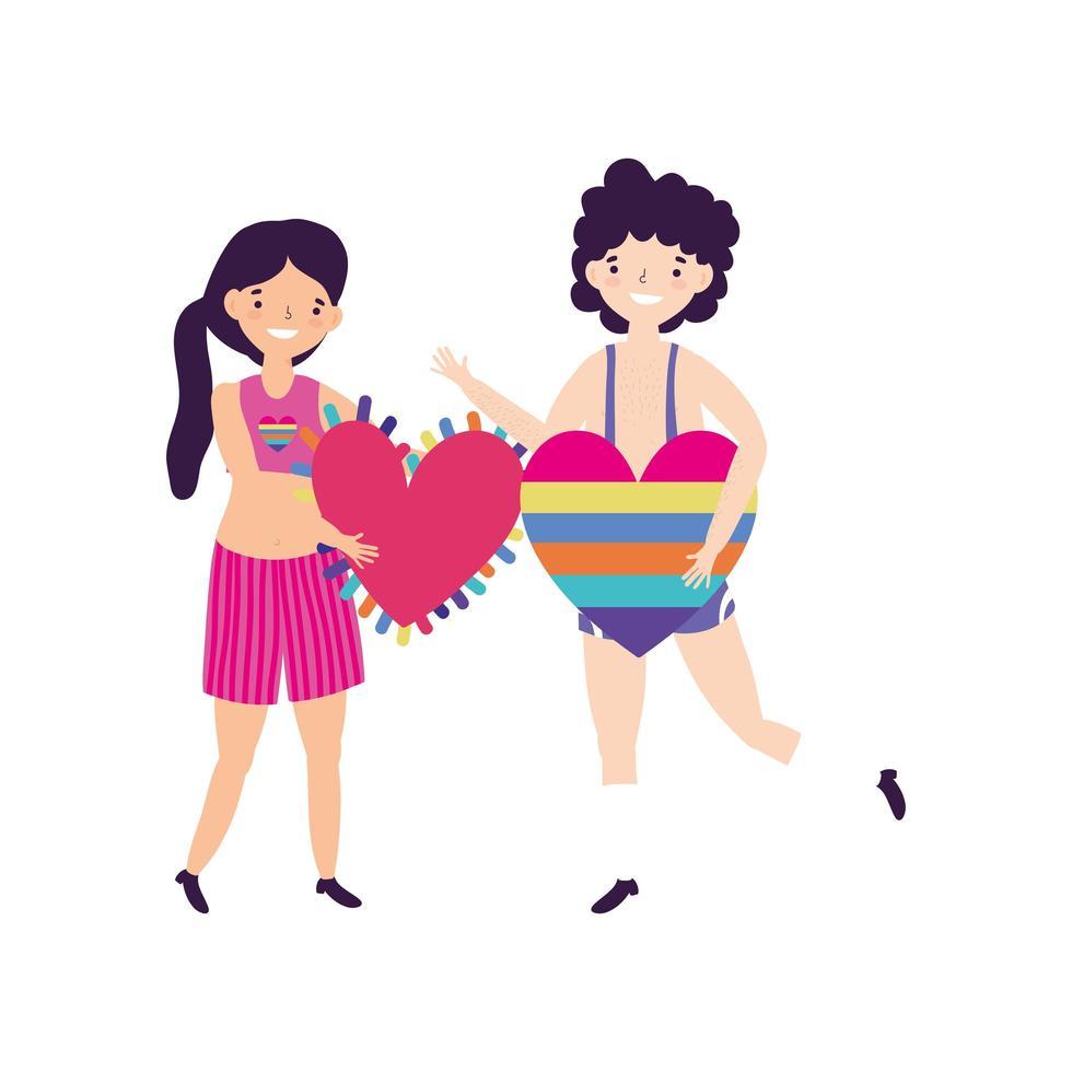 desfile del orgullo comunidad lgbt, personas con amor de corazón en forma de arco iris vector