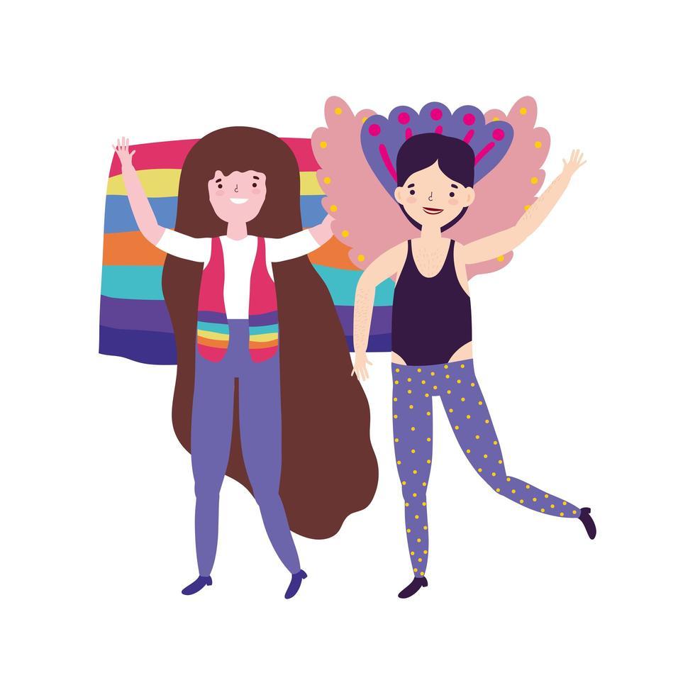 desfile del orgullo de la comunidad lgbt, gay con disfraz y mujer con bandera vector