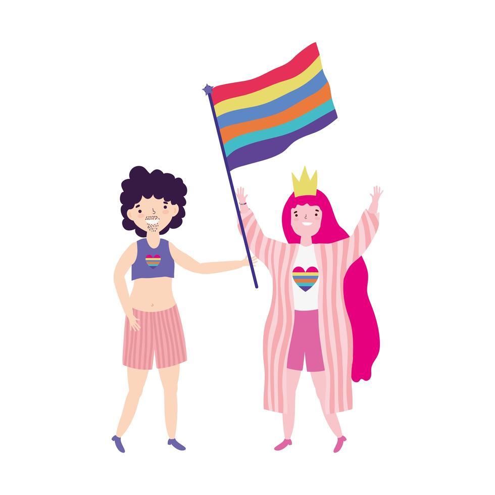 desfile del orgullo comunidad lgbt, mujer con corona y bandera, hombre transgénero vector
