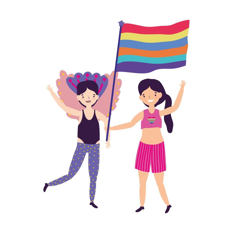 desfile del orgullo comunidad lgbt, reunión de celebración de personas con arco iris vector
