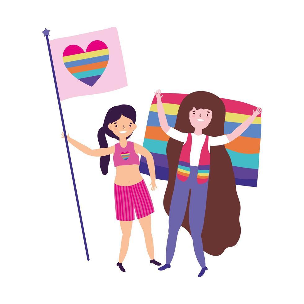 desfile del orgullo comunidad lgbt, chicas con bandera amor corazón decoración del arco iris vector