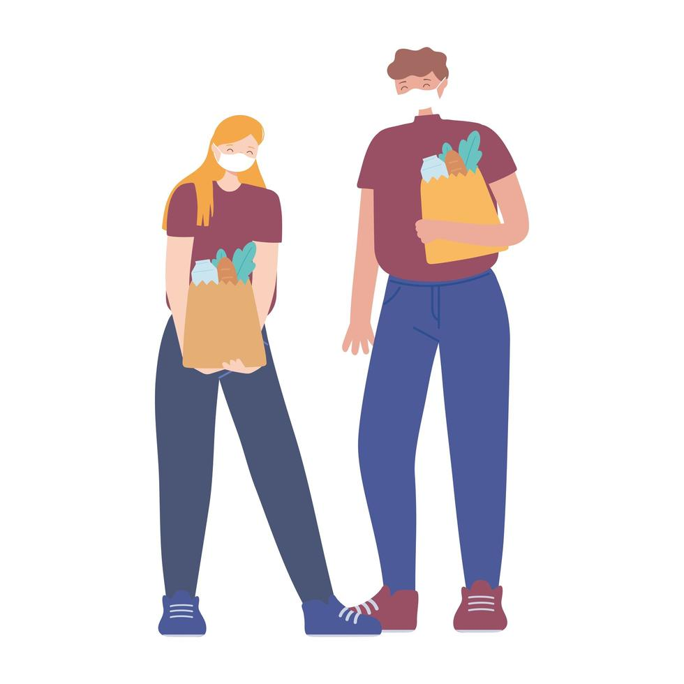 covid 19 coronavirus social distancing prevention, couple with face mask holding grocery bags keeping distance vector