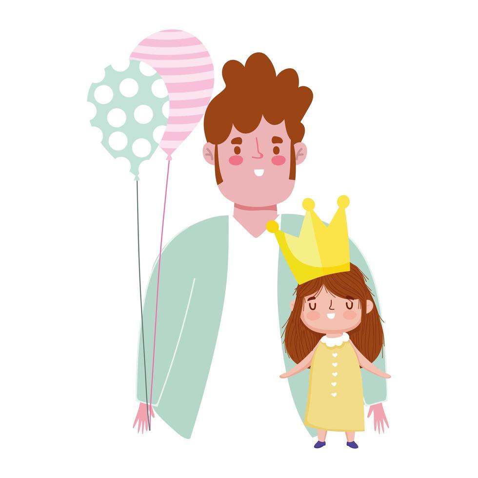 feliz día del padre, papá con corona hija y celebración de globos vector