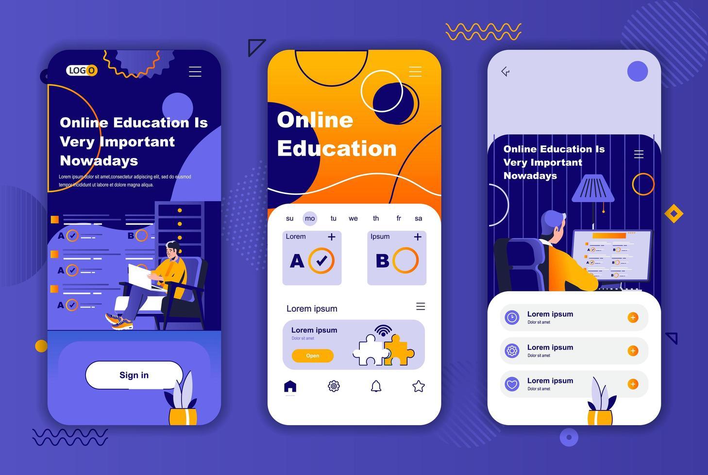 Online education unique design for social networks stories. vector