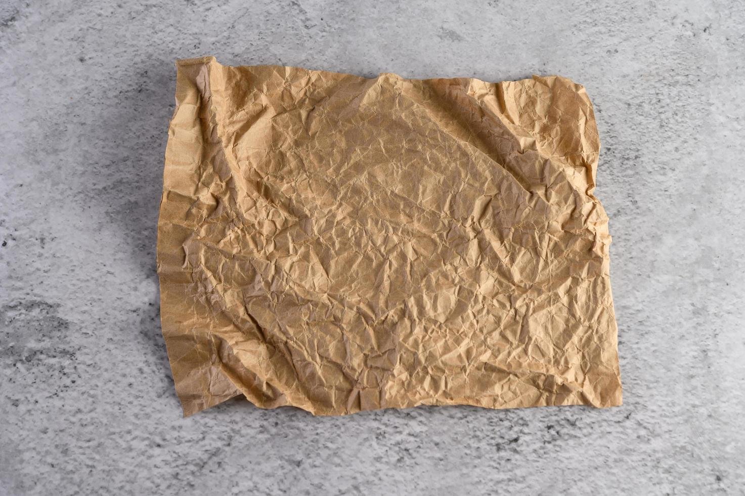 Recycled crumpled brown paper photo