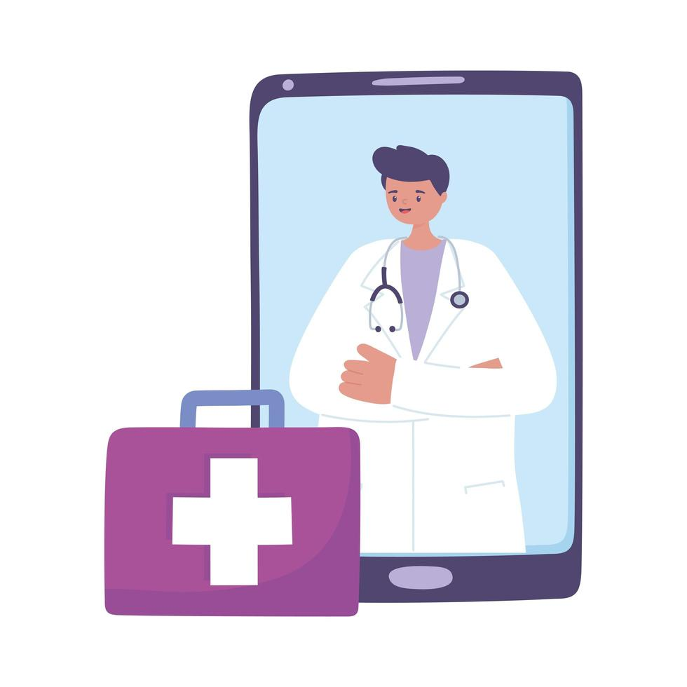 telemedicine, male doctor suitcase, smartphone remote consultation treatment and online healthcare services vector