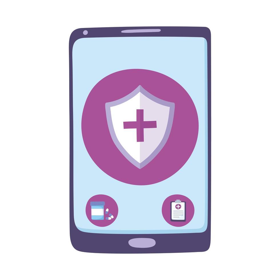 telemedicine, smartphone remote consultation treatment and online healthcare services vector
