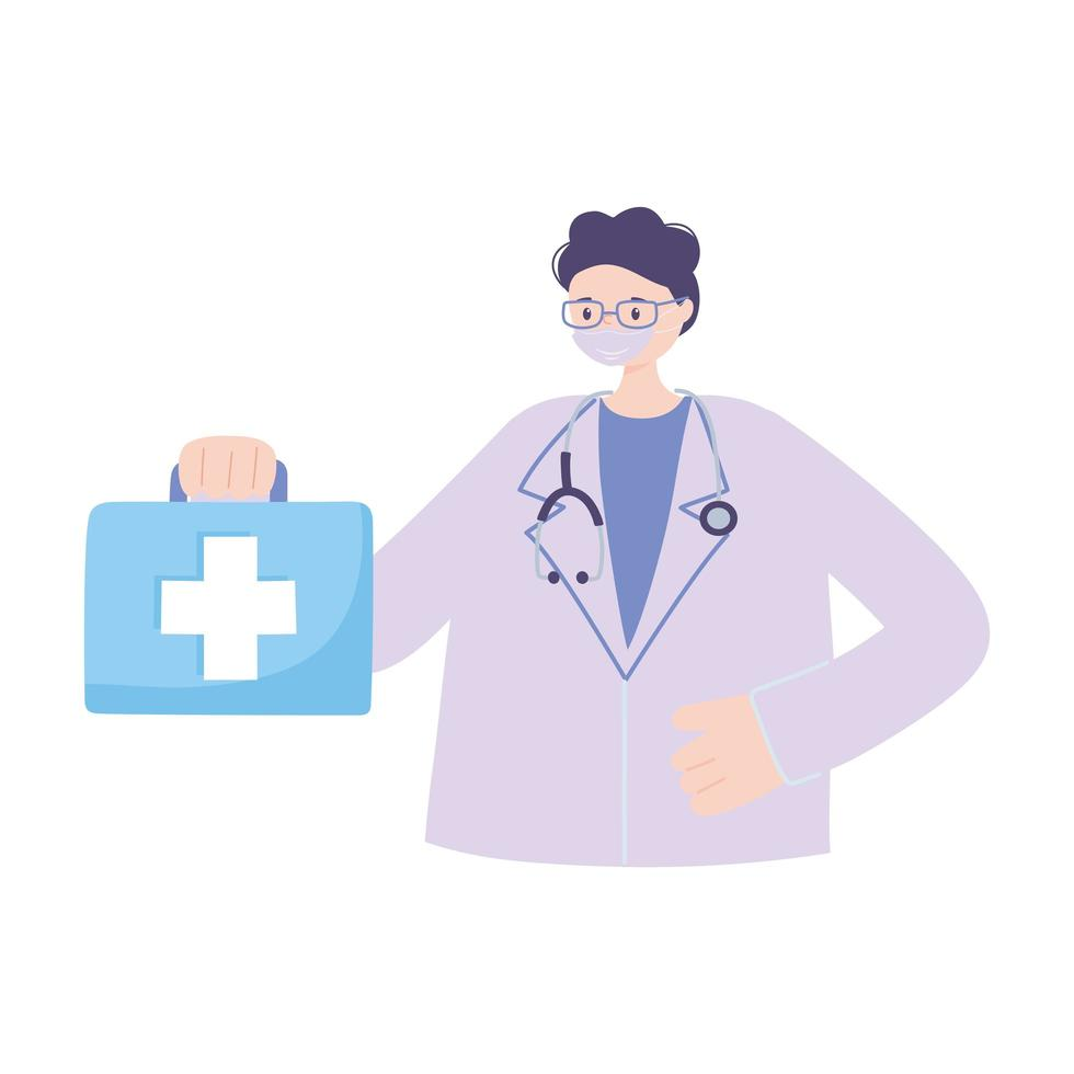 telemedicine, physician with stethoscope suitcase professional medical healthcare vector