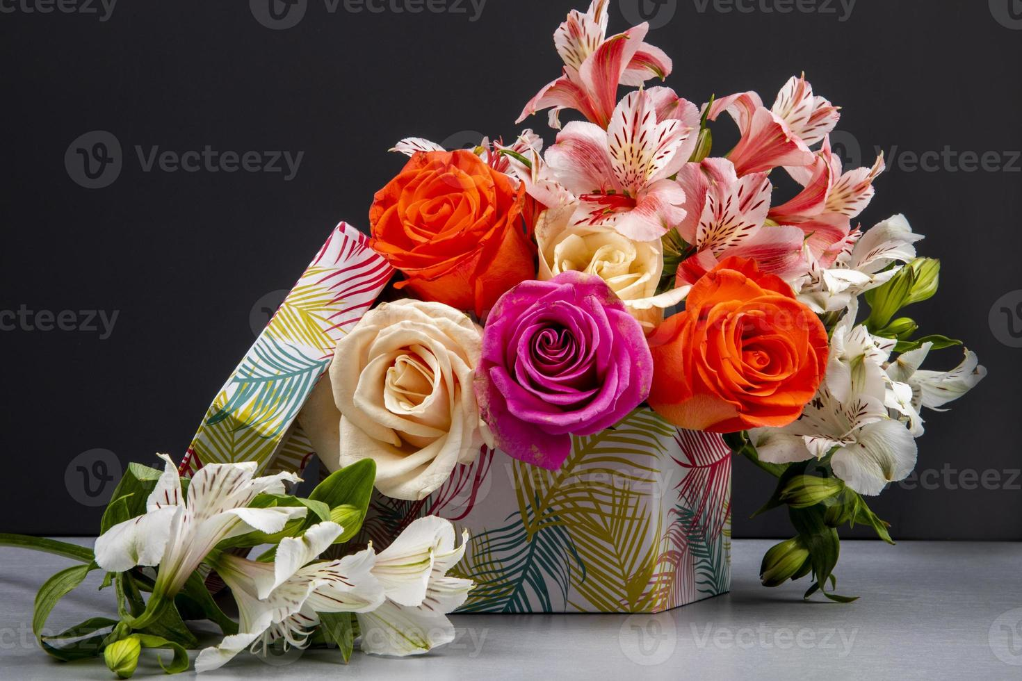 Colorful bouquet in a box photo