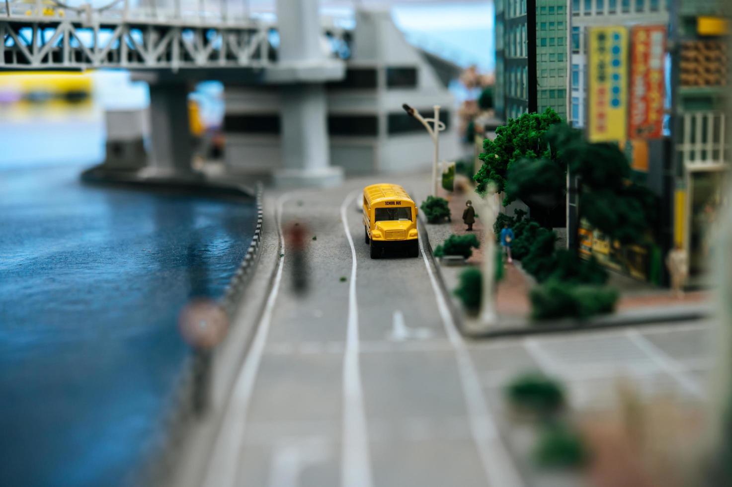 Close-up of miniature toy city landscape photo