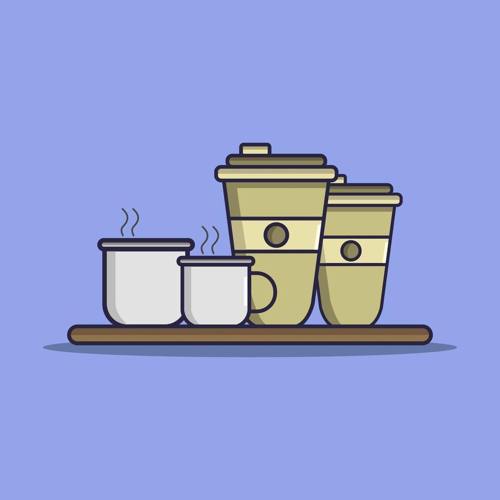taza de café ilustrada en vector sobre fondo blanco