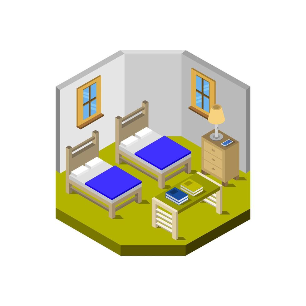 dormitorio isométrico en vector sobre fondo blanco