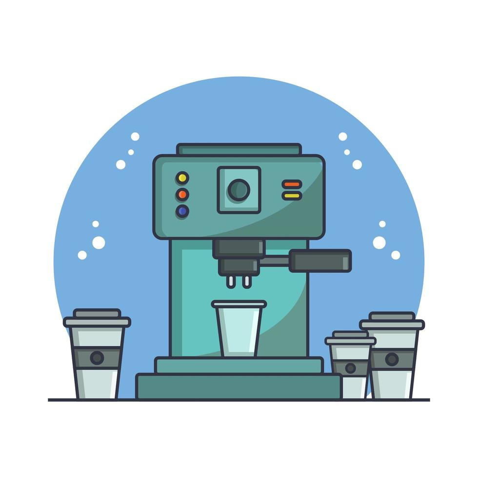 Coffee Machine Illustrated In Vector On White Background