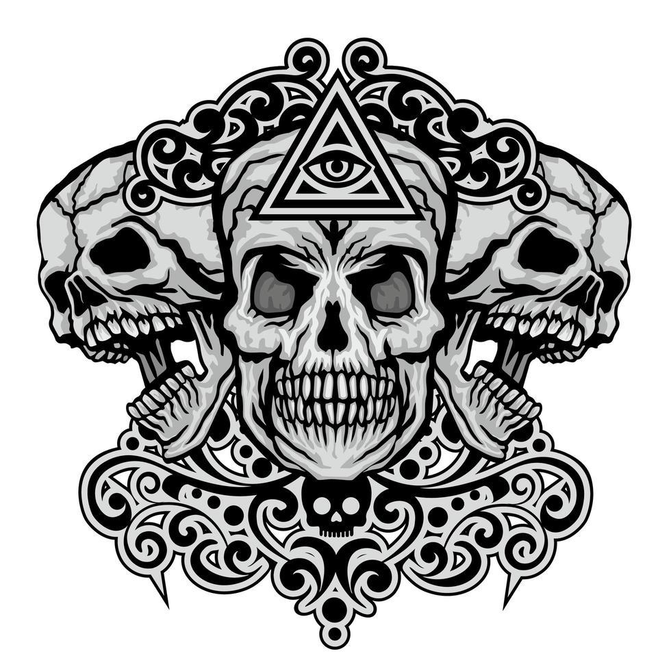 grunge cráneo y ojo de la providencia vector