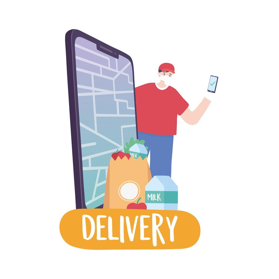 covid-19 coronavirus pandemic, delivery service, delivery man with smartphone app online market, wear protective medical mask vector
