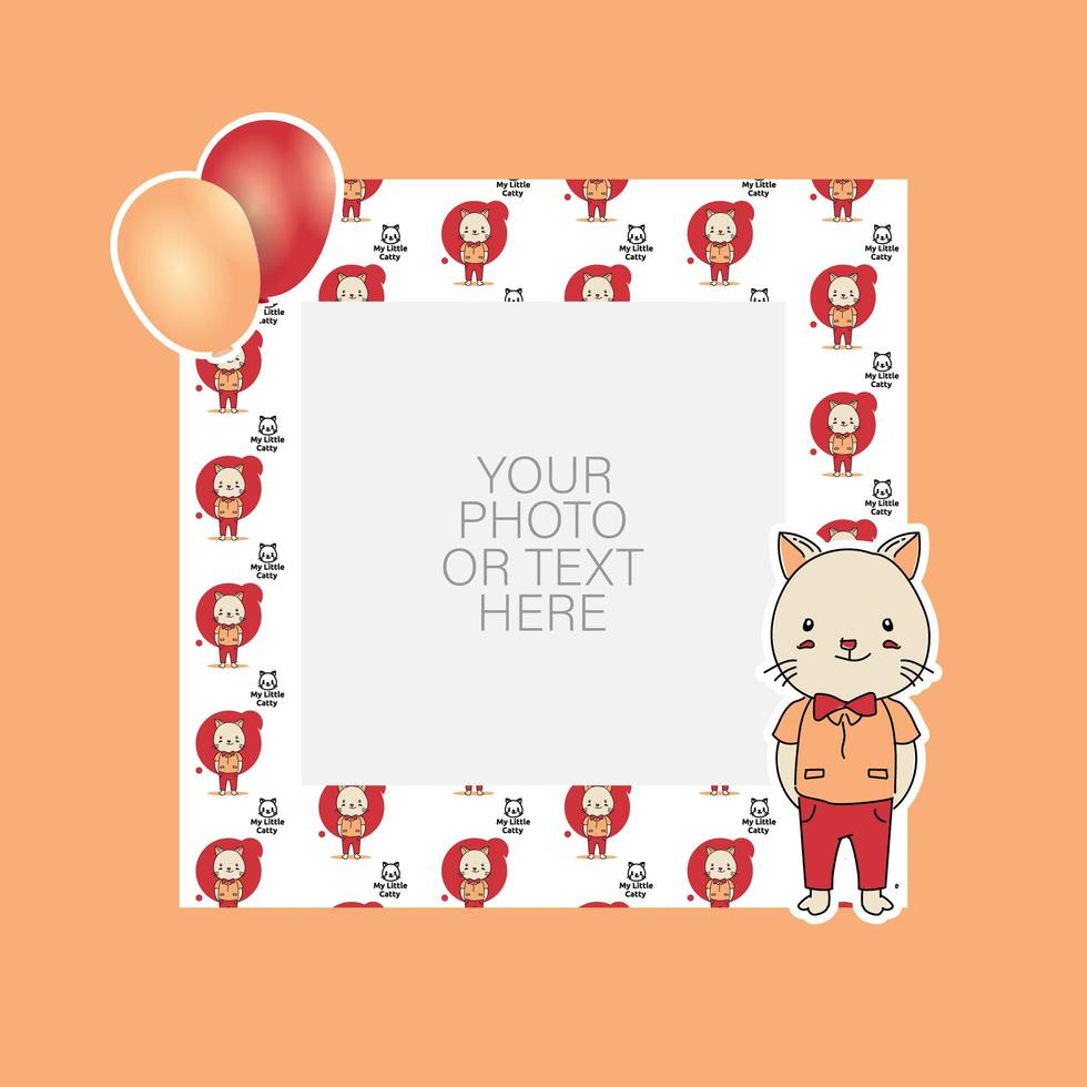 Photo frame with cartoon cat and balloons design vector