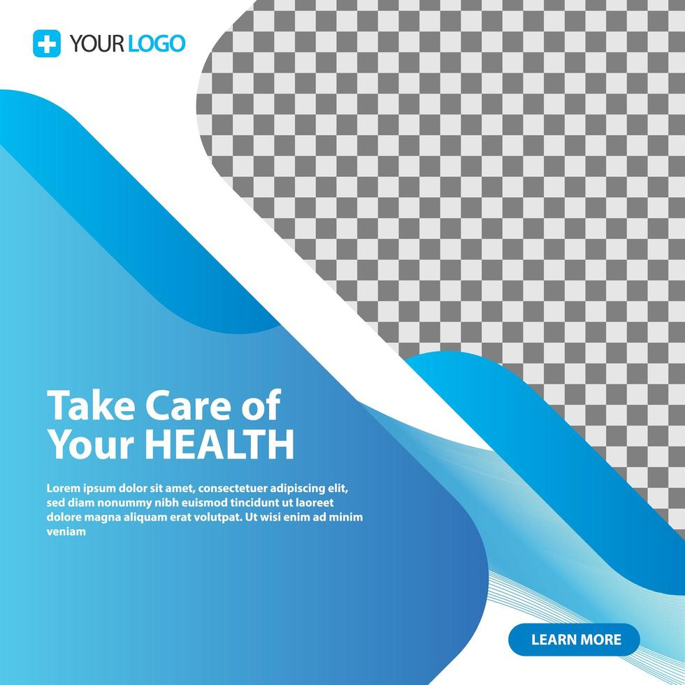 Medical healthcare template post for social media vector