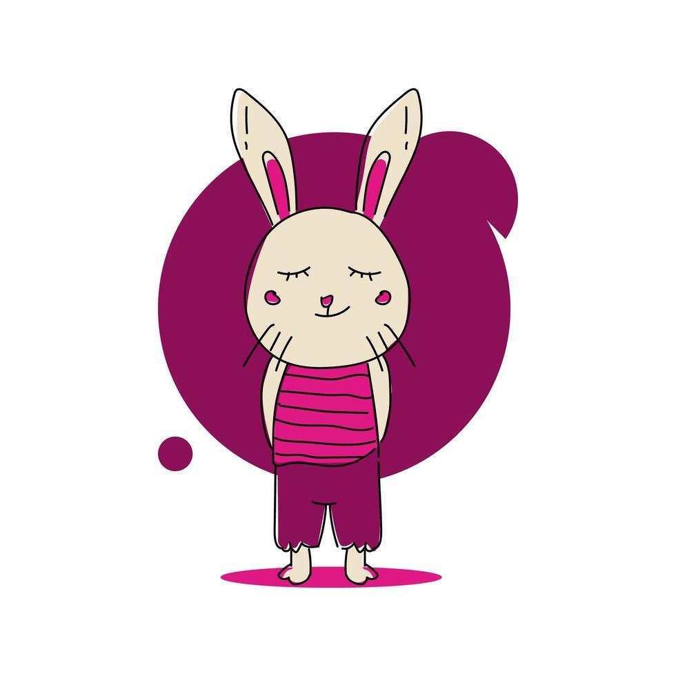 Cute cartoon baby animal bunny in uniform design vector