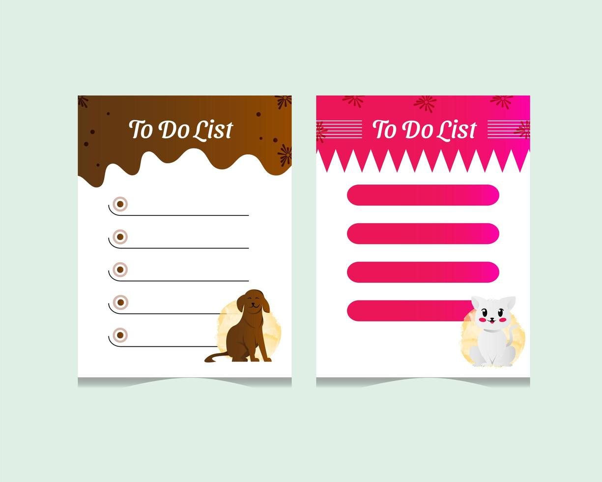 Cute cat and dog character to do list template vector