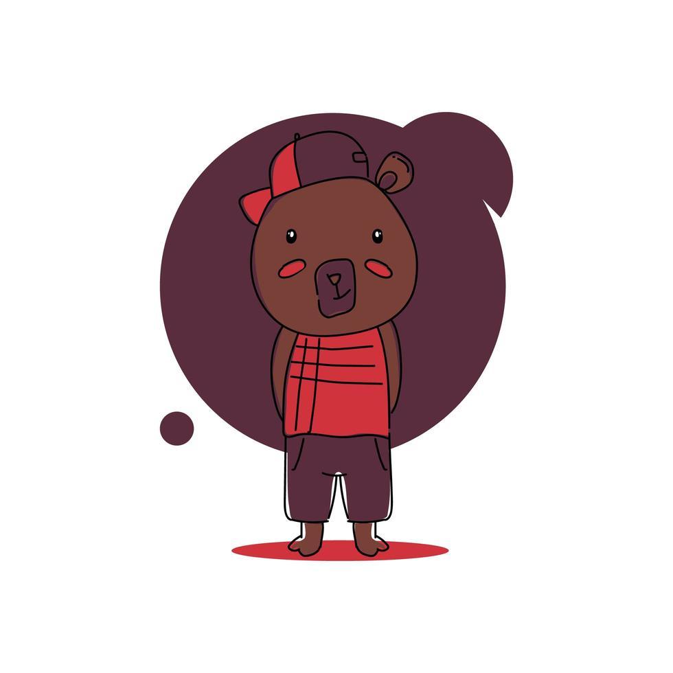 lindo oso de dibujos animados bebé animal en diseño uniforme vector