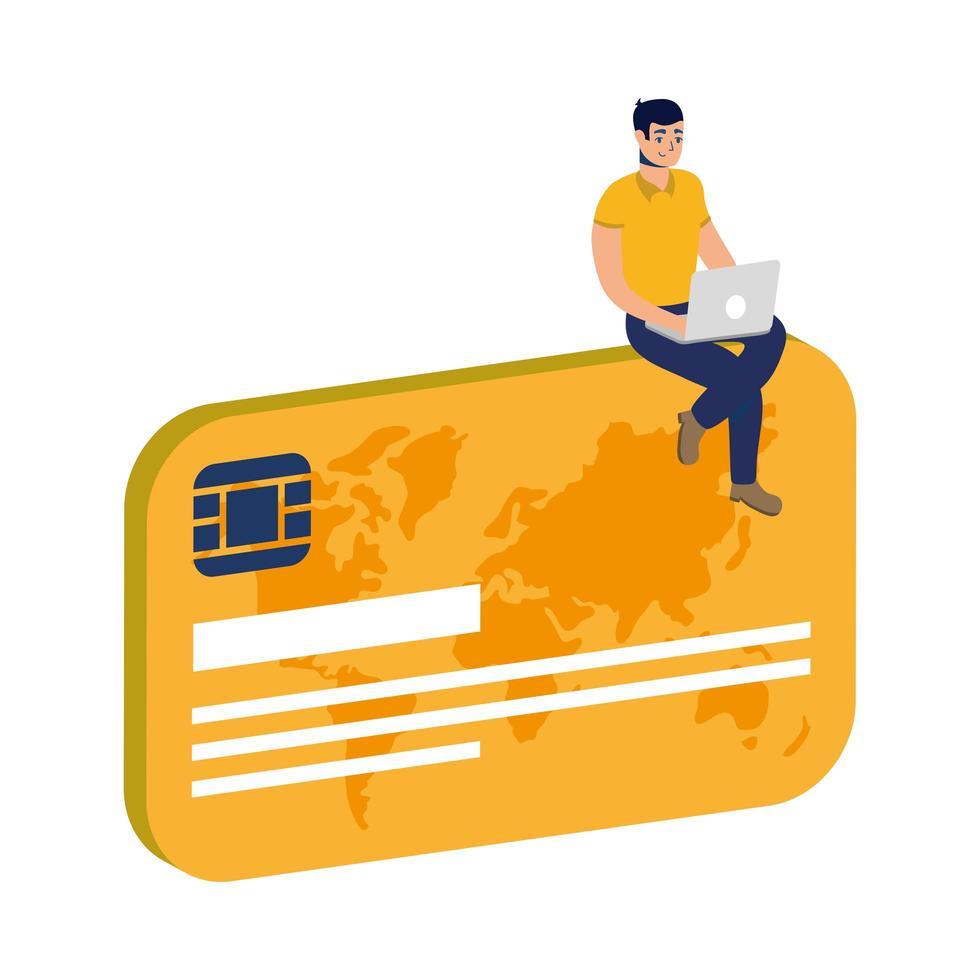 Comercio electrónico en línea de negocios con el hombre usando una computadora portátil y una tarjeta de crédito vector