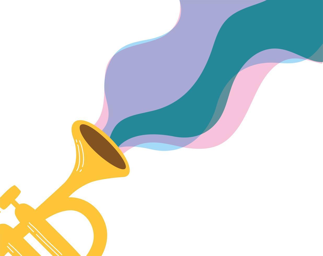 trompeta, instrumento musical, aislado, icono vector