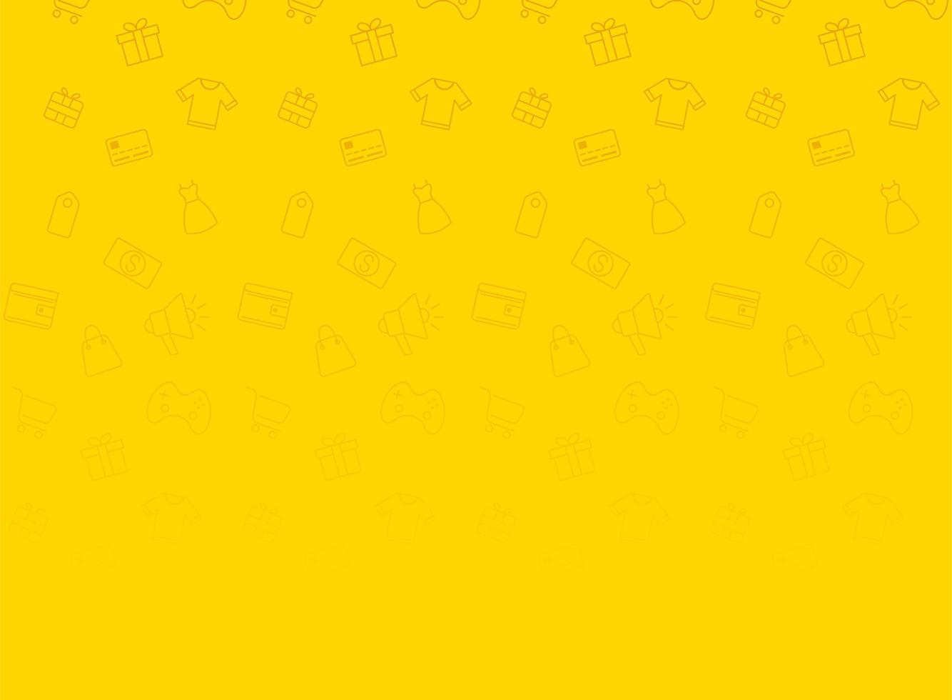bright yellow color background shopping icons vector