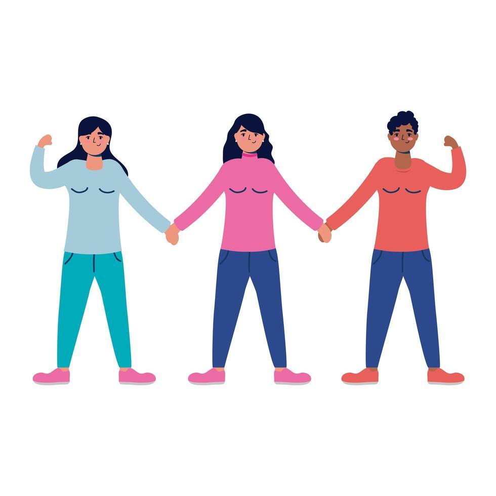 grupo de personajes de mujeres jóvenes interraciales vector