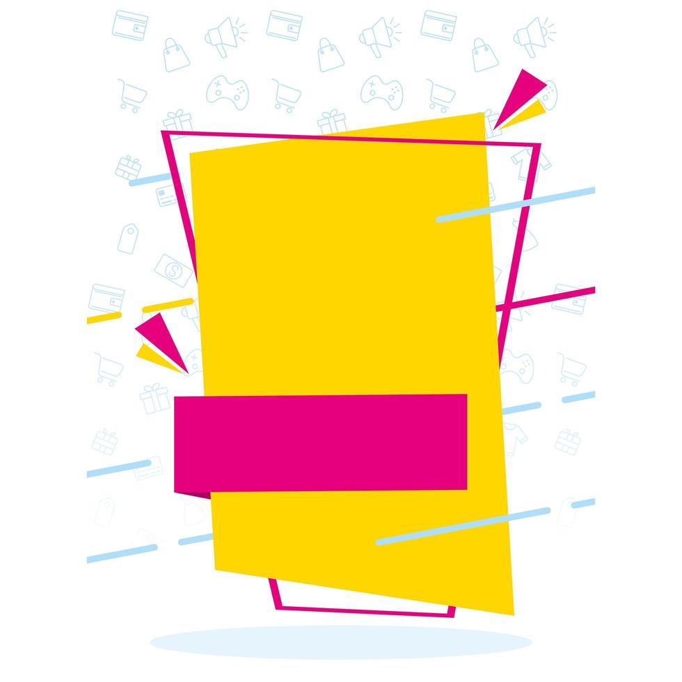 cartel de colores de banner de ventas de marco cuadrado vector