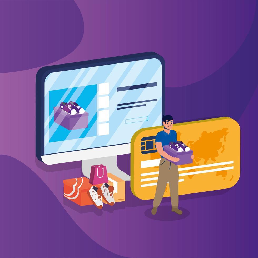 compras de comercio electrónico en línea con el hombre comprando en el escritorio y con tarjeta de crédito vector