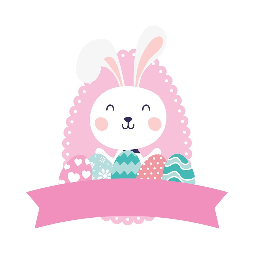 cute rabbit with eggs painted happy easter character vector