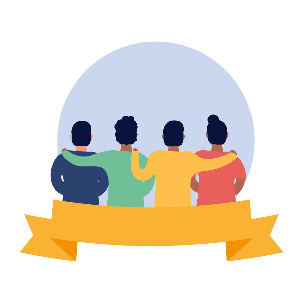 interracial friends avatars characters vector
