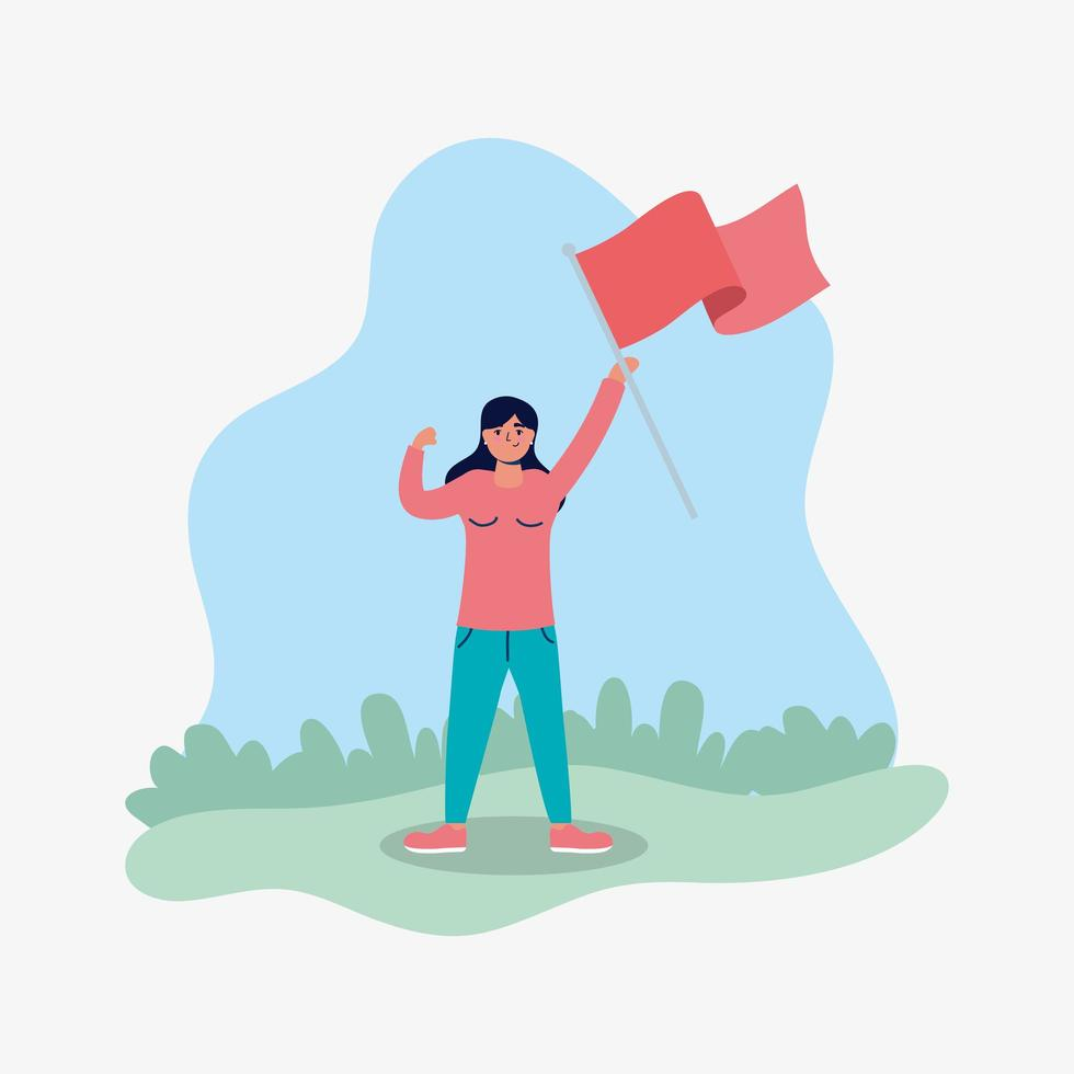 young woman protesting with flag vector