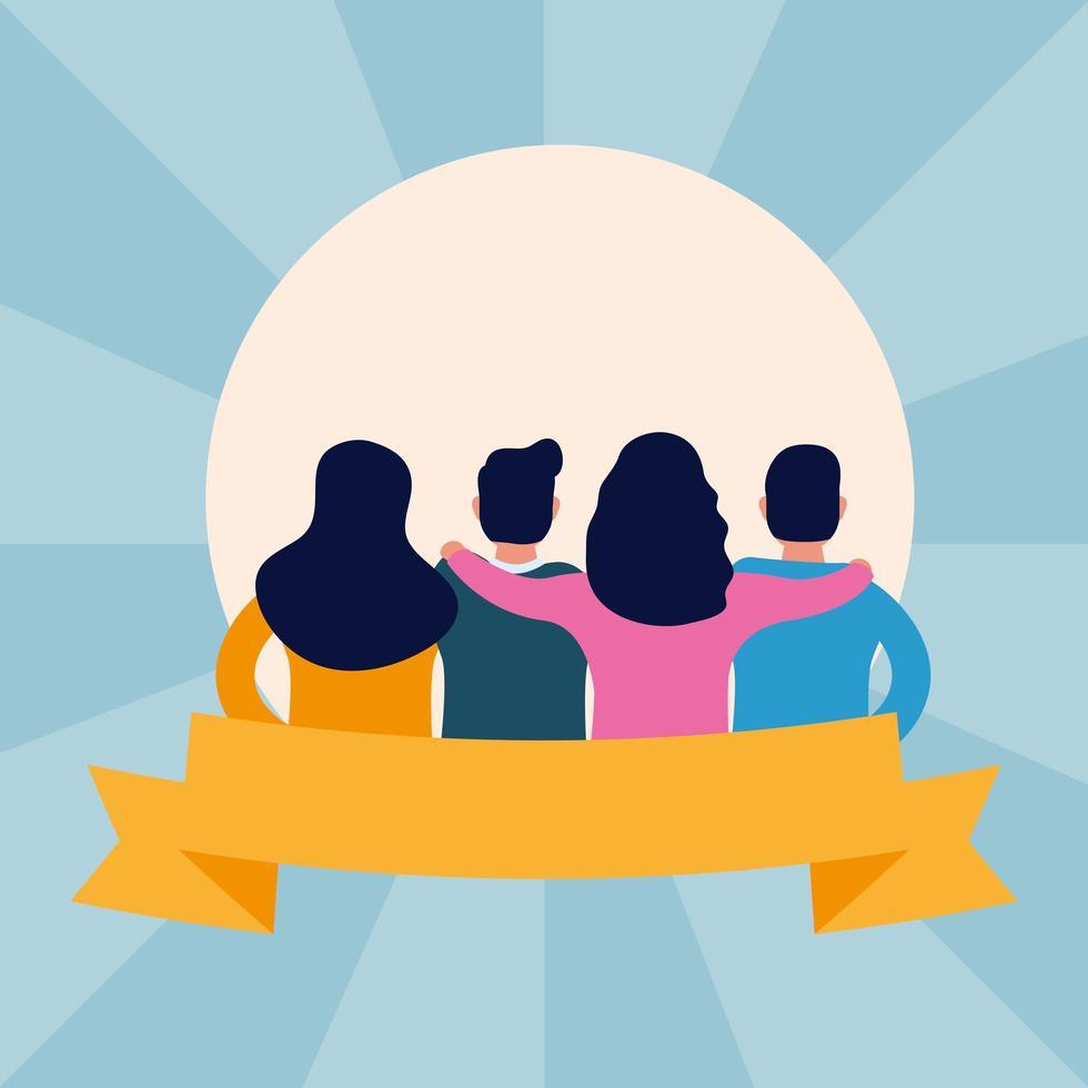 amigos interraciales avatares personajes vector