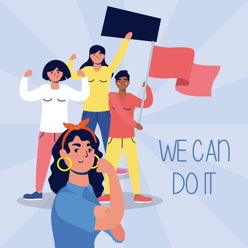 Mujeres interraciales protestando con carteles y banderas. vector