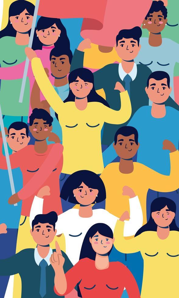 gente fuerte interracial protestando personajes vector