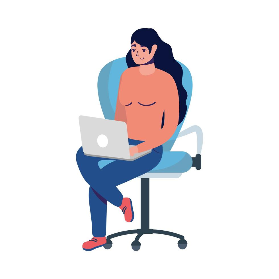 Woman with laptop on chair vector design