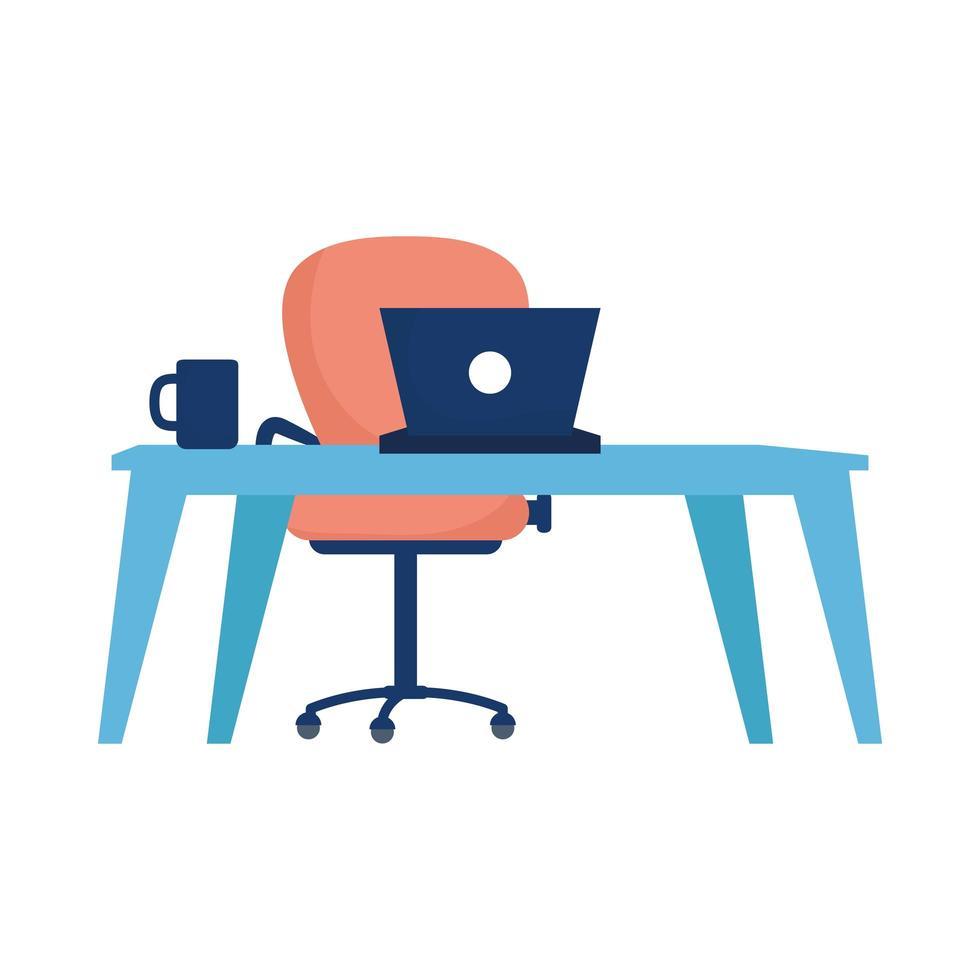 escritorio de oficina con silla y diseño vectorial portátil vector
