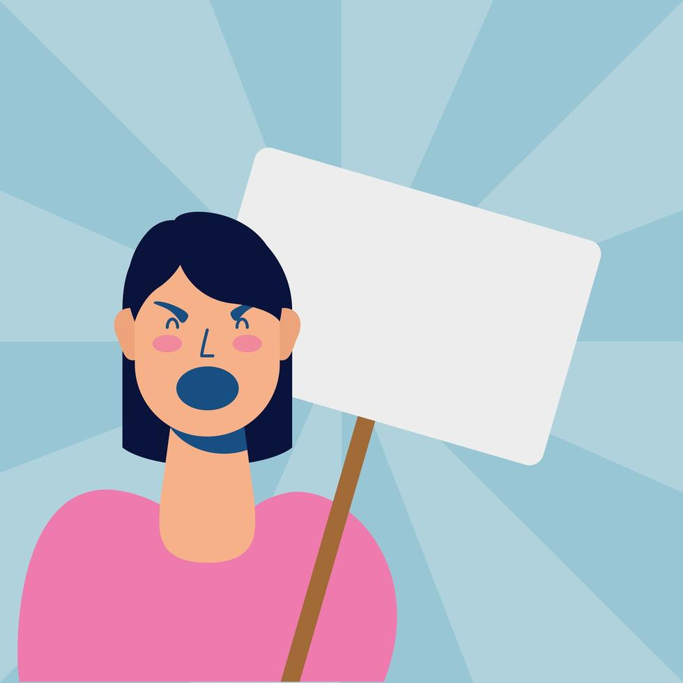 young woman protesting with placard vector